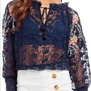 Free People Navy Jubilee Mesh Embroidered Blouse